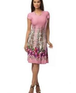 Rochie cu imprimeu floral roz CSF-062 - Rochii de zi -