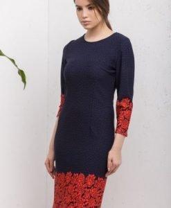 Rochie cu imprimeu floral si buline CI176 bleumarin-rosu - Rochii de zi -