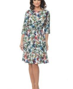 Rochie cu imprimeu floral si snur in talie PQ34 multicolor - Rochii de zi -