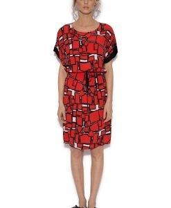 Rochie cu imprimeu geometric Rosu - Imbracaminte - Imbracaminte / Rochii de zi