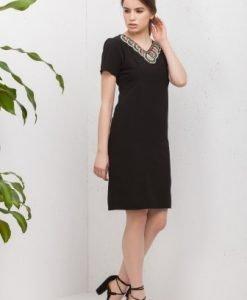 Rochie cu maneca scurta si margele aplicate RO153 negru - Rochii de zi -