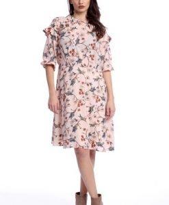 Rochie cu maneca trei sferturi si imprimeu floral AM-21611101 roz - Marimi mari -
