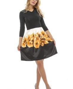 Rochie cu maneca trei sferturi si imprimeu floral RO140 negru-alb-galben - Rochii de zi -