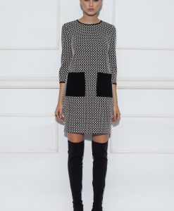 Rochie cu print monocrom si buzunare negre Alb/Negru - Imbracaminte - Imbracaminte / Rochii de zi