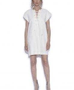 Rochie cu snur pe decolteu Crem - Imbracaminte - Imbracaminte / Rochii de zi
