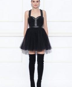 Rochie cu tulle si detalii din piele Negru - Imbracaminte - Imbracaminte / Rochii de seara
