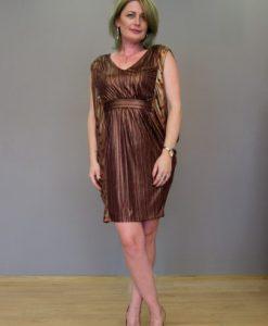Rochie de ocazie auriu cu grena R007S - Marimi mari -