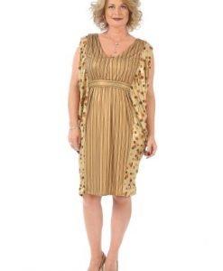 Rochie de ocazie cu imprimeu R007S auriu - Rochii de seara -