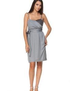 Rochie de seara argintie cu bretele FRENCH - Rochii de seara -