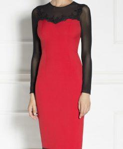 Rochie de seara conica cu voal transparent si dantela neagra Rosu - Imbracaminte - Imbracaminte / Rochii de seara