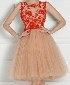 Rochie de seara cu bust din dantela Rosu - Imbracaminte - Imbracaminte / Rochii de seara