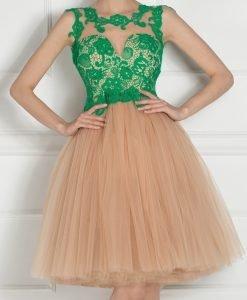 Rochie de seara cu bust din dantela Verde - Imbracaminte - Imbracaminte / Rochii de seara