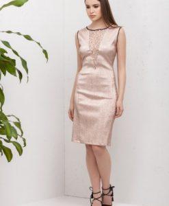 Rochie de seara cu dantela si fir metalic LARA-R roz - Rochii de seara -
