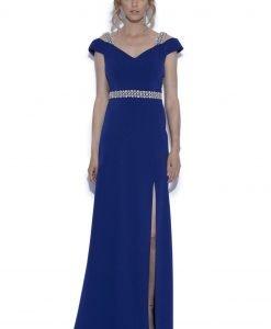 Rochie de seara cu detalii din dantela Albastru - Imbracaminte - Imbracaminte / Rochii de seara