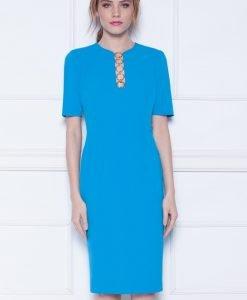 Rochie de seara cu detaliu pe decolteu Albastru - Imbracaminte - Imbracaminte / Rochii de seara