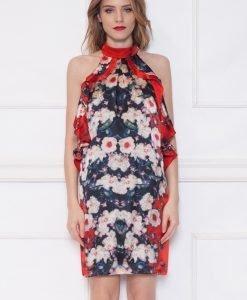 Rochie de seara cu imprimeu floral Rosu - Imbracaminte - Imbracaminte / Rochii de seara