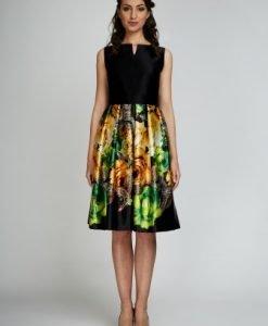 Rochie de seara cu imprimeu floral din satin AIDA-V negru-verde - Rochii de seara -