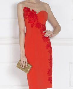 Rochie de seara cu insertie din dantela Rosu - Imbracaminte - Imbracaminte / Rochii de seara