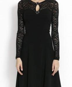 Rochie de seara cu insertii din dantela Negru - Imbracaminte - Imbracaminte / Rochii de seara