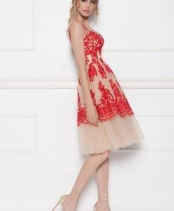 Rochie de seara cu tull si insertii din dantela Rosu - Imbracaminte - Imbracaminte / Rochii de seara