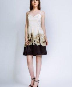 Rochie de seara din satin cu imprimeu floral NARCISA-B - Rochii de seara -