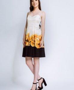 Rochie de seara din satin cu imprimeu floral NARCISA-IV - Rochii de seara -