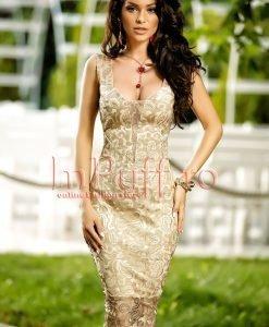 Rochie de seara eleganta din dantela bej auriu cu snur pe spate - ROCHII -