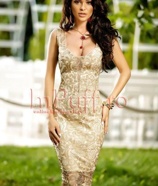 Rochie de seara eleganta din dantela bej auriu cu snur pe spate – ROCHII –