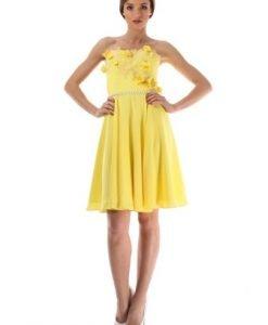 Rochie de seara galbena din voal cu corset 2038S - Rochii de seara -
