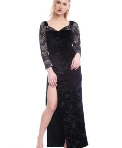 Rochie de seara lunga din catifea si dantela AM-21704115 negru - Rochii de seara -