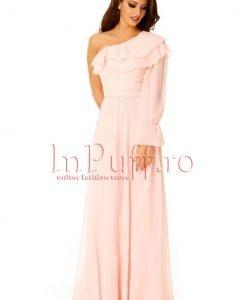Rochie de seara lunga roz din voal - ROCHII -