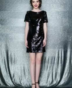 Rochie de seara scurta cu paiete LIZETA negru-argintiu - Rochii de seara -