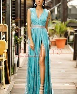 Rochie de seara turquoise cu tul argintiu despicata pe picior - ROCHII -