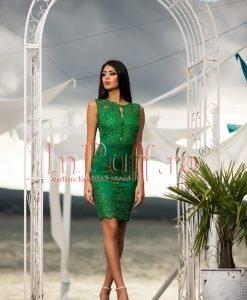 Rochie de seara verde smarald cu broderie - ROCHII -