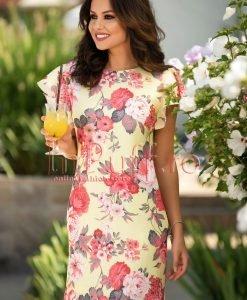 Rochie de vara galbena din in cu imprimeu floral - ROCHII -