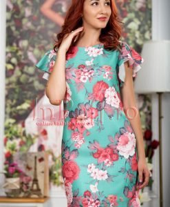 Rochie de vara verde din in cu imprimeu floral - ROCHII -