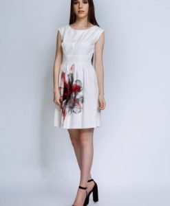 Rochie de zi alba cu imprimeu ESTERA - Rochii de zi -