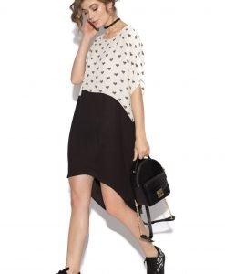 Rochie de zi asimetrica cu imprimeu Crem - Imbracaminte - Imbracaminte / Rochii de zi
