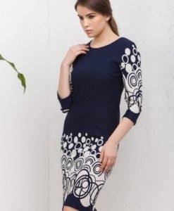 Rochie de zi bleumarin cu alb CI181 - Rochii de zi -