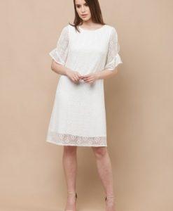 Rochie de zi cu broderie EDENTR - WHITE alb - Rochii de zi -