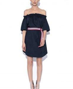 Rochie de zi cu curea in talie Bleumarin - Imbracaminte - Imbracaminte / Rochii de zi