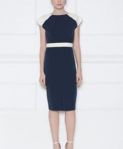 Rochie de zi cu detalii contrastante Bleumarin - Imbracaminte - Imbracaminte / Rochii de zi