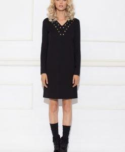 Rochie de zi cu detaliu pe decolteu Negru - Imbracaminte - Imbracaminte / Rochii de zi