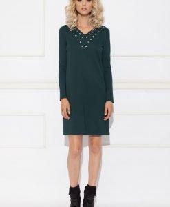 Rochie de zi cu detaliu pe decolteu Verde - Imbracaminte - Imbracaminte / Rochii de zi