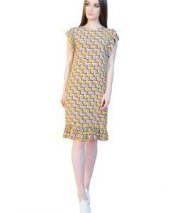 Rochie de zi cu imprimeu abstract D2509 galben - Rochii de zi -