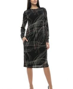Rochie de zi cu imprimeu abstract DEVIZ negru - Rochii de zi -