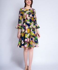 Rochie de zi cu imprimeu floral CORINA bleumarin - Rochii de zi -