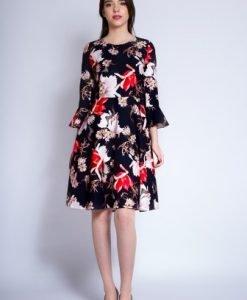 Rochie de zi cu imprimeu floral CORINA negru - Rochii de zi -