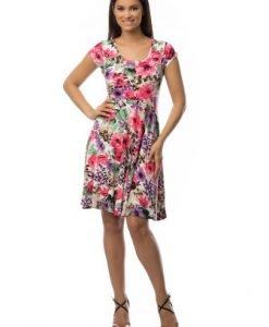 Rochie de zi cu imprimeu floral CSF-063 roz - Rochii de zi -