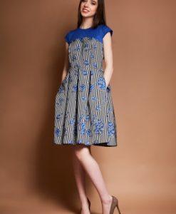 Rochie de zi cu imprimeu in dungi si floral DOINA-A alb-albastru - Rochii de zi -